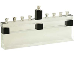 Crystal Clear & Black Menorah