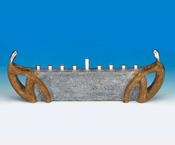 Stone & Pewter Menorah