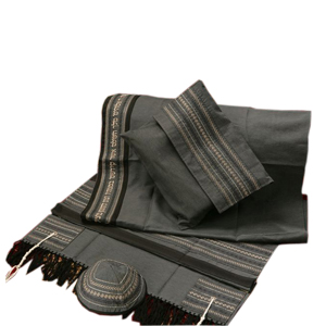 Grey Tallit with black stripes