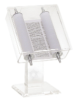 Torah scroll in lucite display case